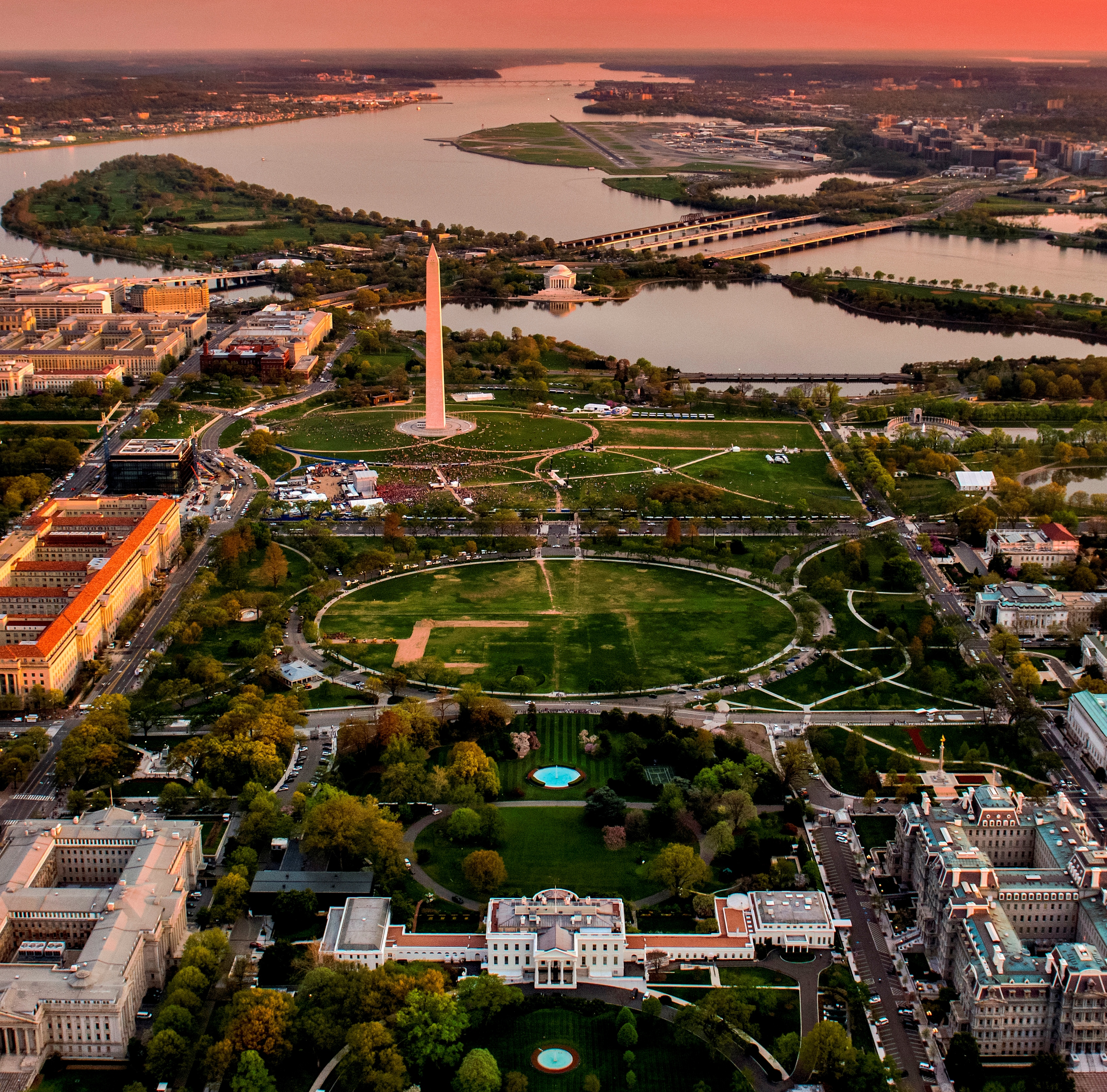 Aerial view of the National Mall and President's Park