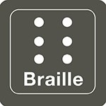 Braille icon in grey and white