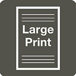 Large Print Icon in grey and white