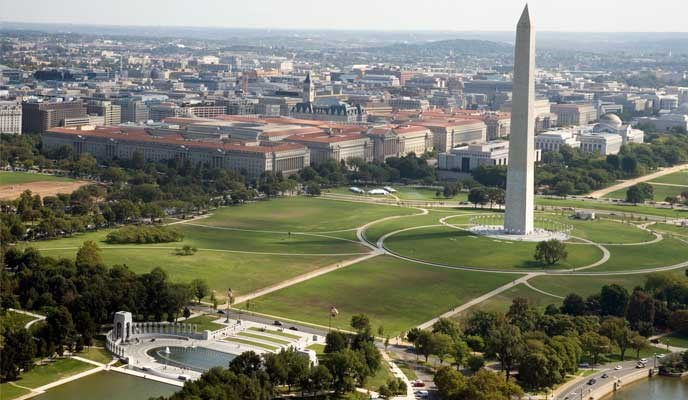 World War II memorial and Washington Monument from the air