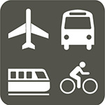 grey square with icons of plane, train, bus and bicycle