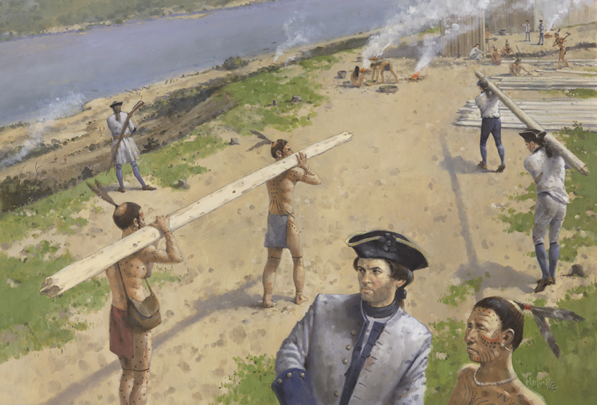 Artist rendering of French soldiers and Natchez Indians constructing a Fort on top of bluff overlooking river