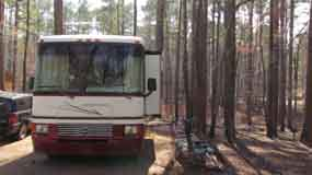 Jeff Busby Campground host site provides full hook-ups to volunteers.