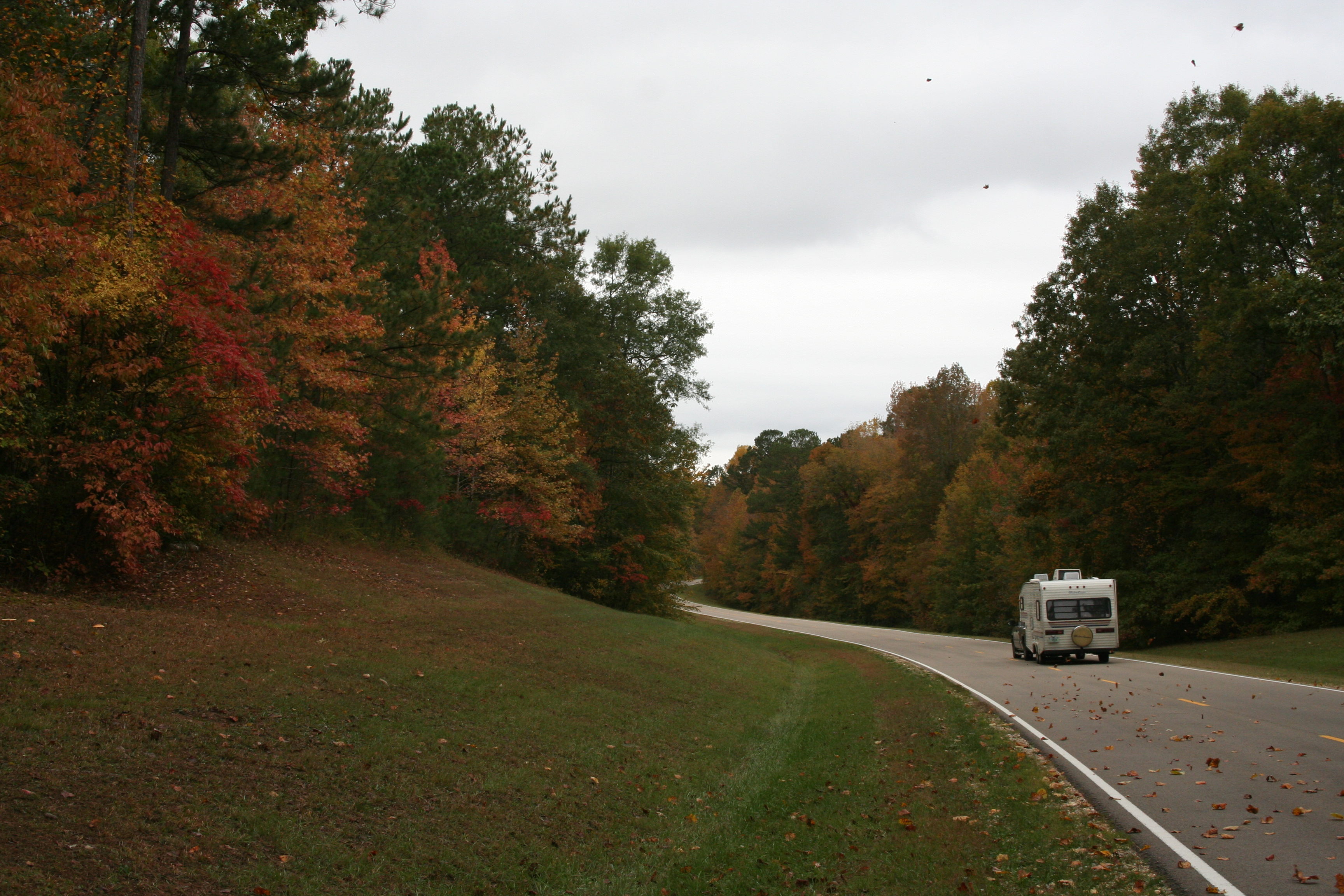 An RV traveling in fall along the Parkway.