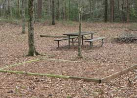 Picnic table and tent pad at the Kosciusko Bicycle only campground.