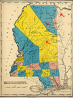 1822 map of Mississippi that shows a few young counties, the Choctaw and Chickasaw lands, and the Natchez Trace.