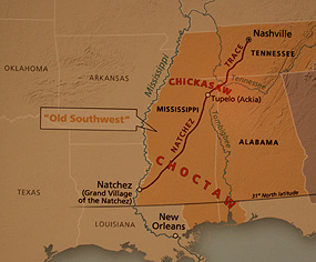 Map showing the Natchez Trace running through the Choctaw and Chickasaw lands.