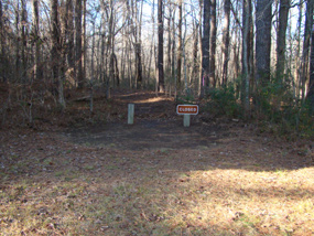 The trail leading to the Tupelo bicycle only campground.