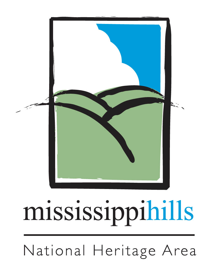 Mississippi hills national heritage area logo.  contains green hills, white cloud, blue sky