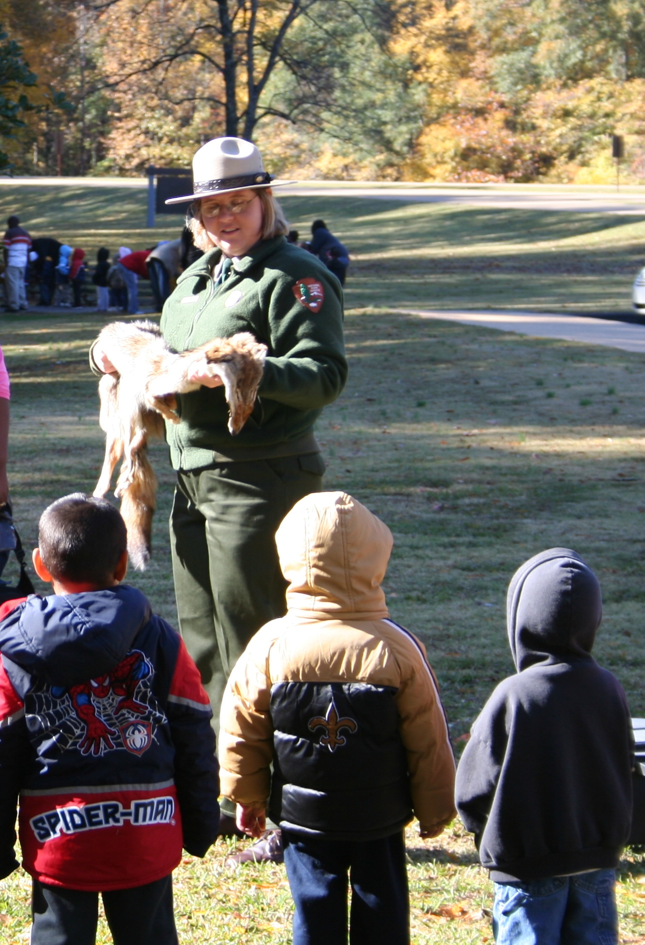 Students learn about the animals of the Parkway during a skins and skulls program.