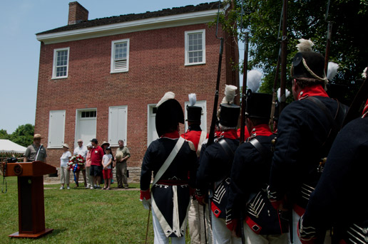 Re-enactors watch Gordon ceremony