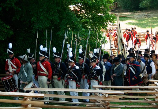 Re-enactors on parade