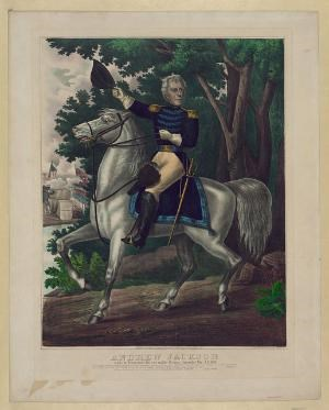 Andrew Jackson with the Tennessee Forces on the Hickory Grounds.