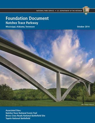 The cover of the park's foundation document, showing the Birdsong Hollow double-arch bridge along the Natchez Trace Parkway