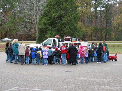 Students visit a Parkway fire engine during Fire Prevention Week.