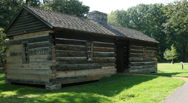 A cabin constructed in early 1800's style