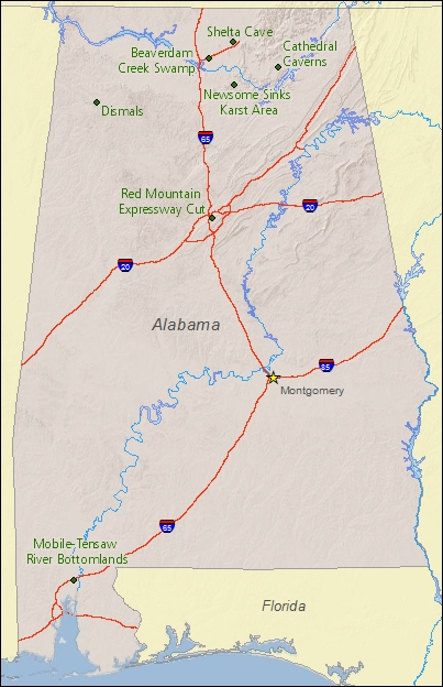 National Natural Landmarks By State National Natural Landmarks - Map of al