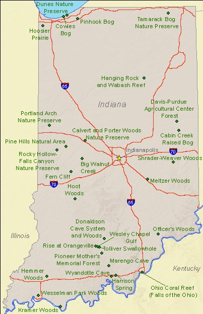 National Natural Landmarks By State National Natural Landmarks - Map of state of indiana