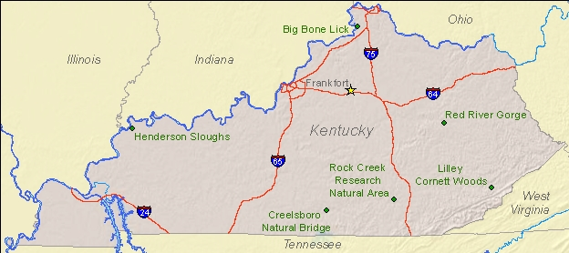 National Natural Landmarks By State National Natural Landmarks - Map of the state of kentucky