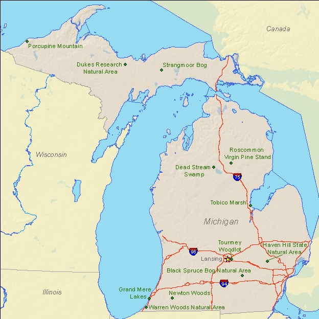 National Natural Landmarks By State National Natural Landmarks - Mi state map