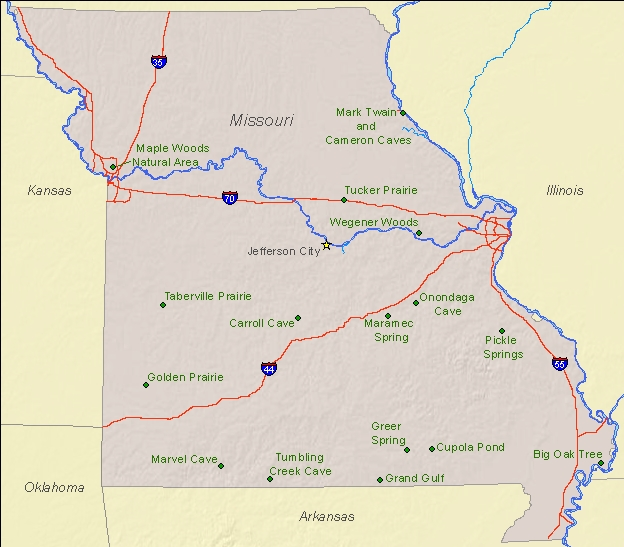 National Natural Landmarks By State National Natural Landmarks - State of missouri map