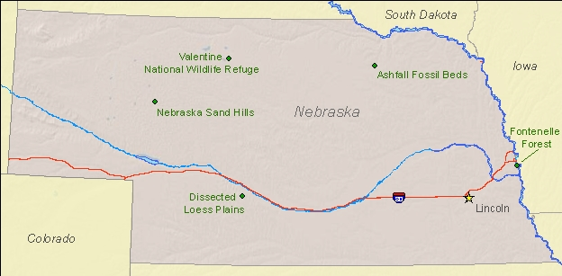 National Natural Landmarks By State National Natural Landmarks - State map of nebraska