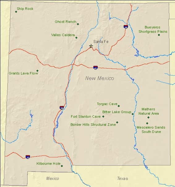 National Natural Landmarks By State National Natural Landmarks - New mexico state map