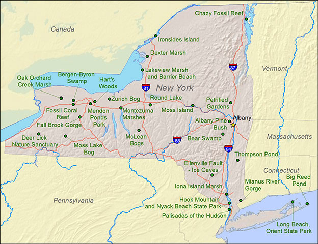 Map Of New York State And Canada.National Natural Landmarks By State National Natural Landmarks