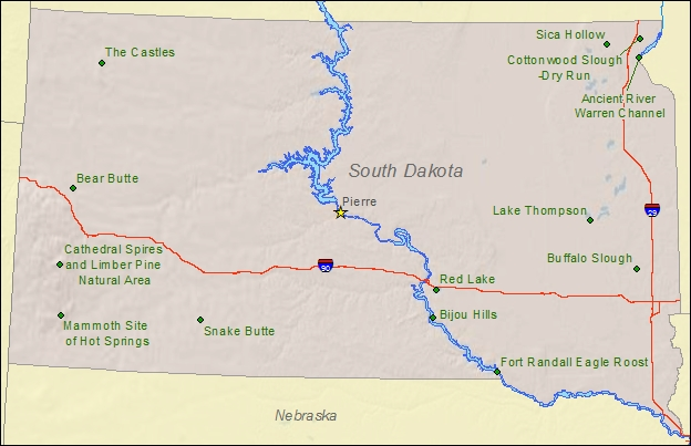 National Natural Landmarks By State National Natural Landmarks - Map of sd