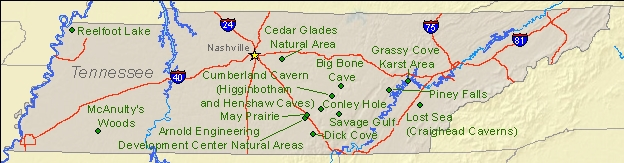 State Parks Tennessee Map.National Natural Landmarks By State National Natural Landmarks