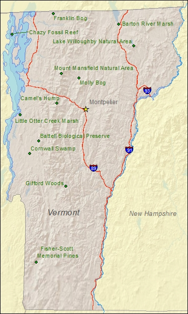 National Natural Landmarks By State National Natural Landmarks - Vermont on a us map