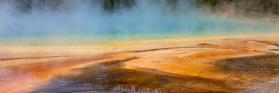 Steam rises from a natural pool that is bright blue with light turquoise green along shore. Shore in foreground is silt-like with mottled bright orange, dark orange, and brown swirls partially covered with shallow water reflecting evergreen forest.