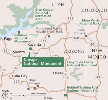 Map Of Arizona Utah Border.Maps Navajo National Monument U S National Park Service