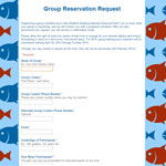 Screenshot of Group Reservation Request Form with red and blue fish border