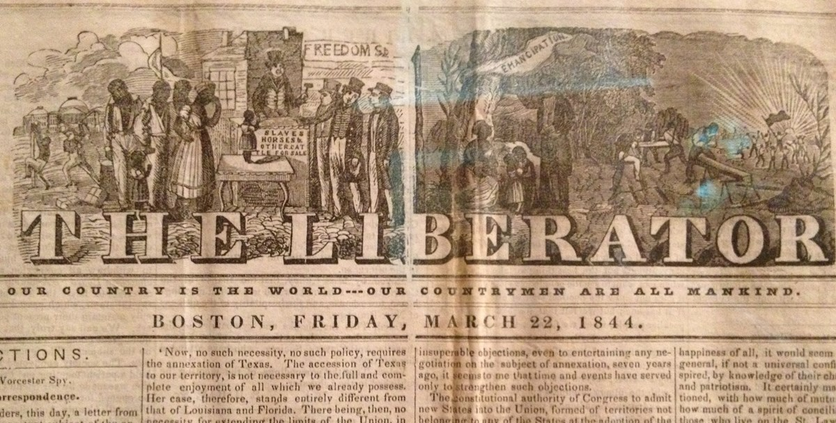 A browned 1844 publication of The Liberator depicts both slavery and emancipation in its heading.
