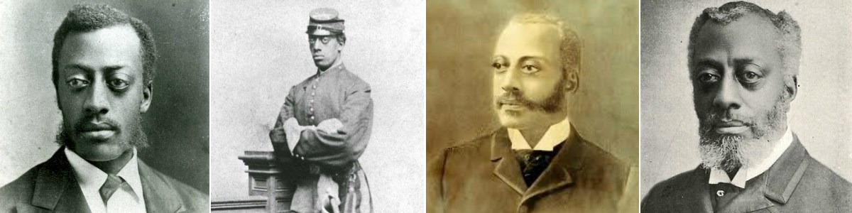 Images of Charles Douglass as a young man, in Union Army uniform, as an older man, and a drawing of him as an older man.