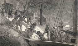 Engraving of an arrival of a party of fifteen escaped slaves at League Island