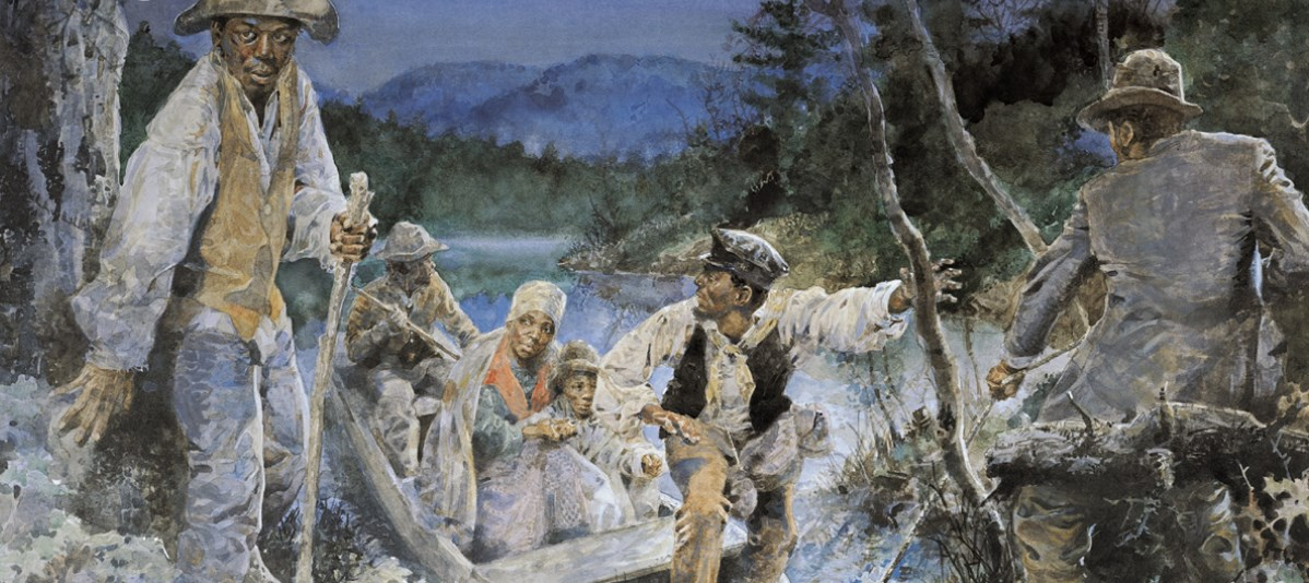 Runaway slaves escape across the Potomac River at nightfall.