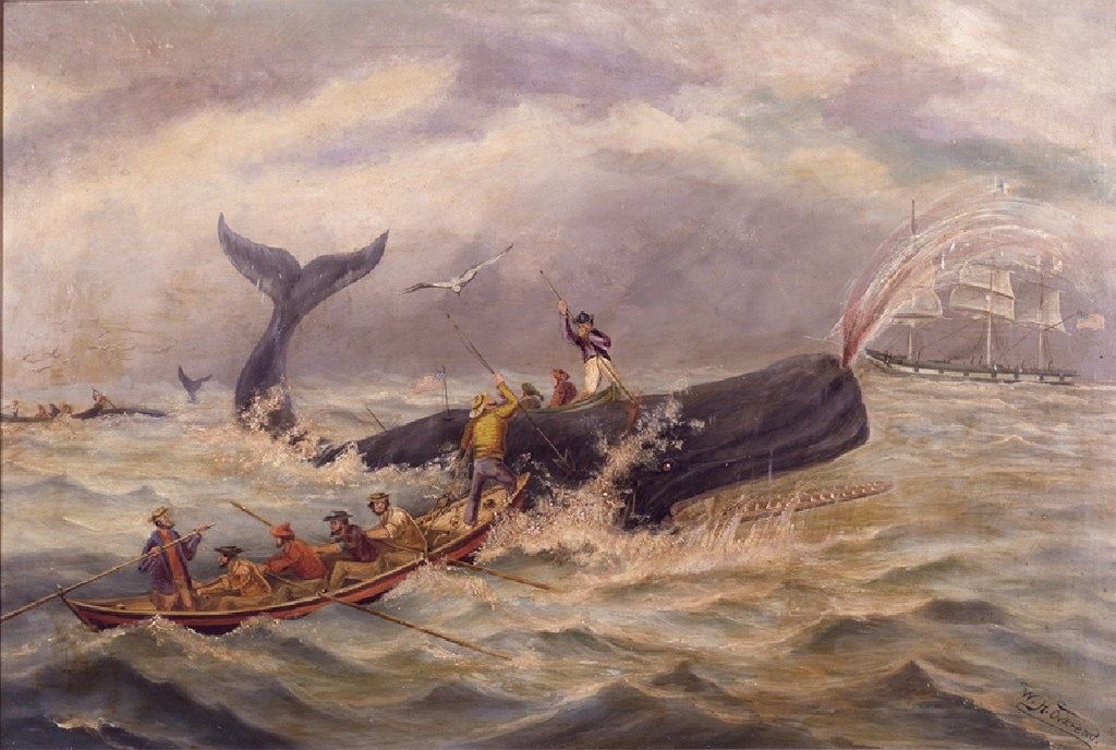 Men keep a rowboat steady on the open ocean while others try harpooning a whale.