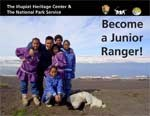 Cover of Inupiat Heritage Center Junior Ranger booklet showing smiling children in Barrow, Alaska