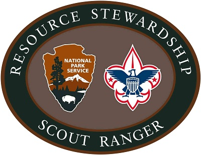 The Resource Stewardship Scout Ranger Patch features the National Park Service arrowhead and Boy Scouts of America fleur-de-lis.