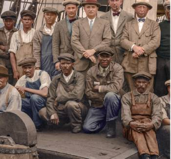 Crew of whaling ship Wanderer, 1924, colorized