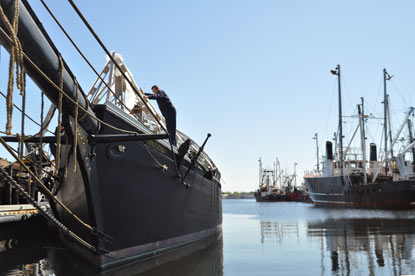 Volunteer working on the Schooner Ernestina during the 2012 Cleanup day