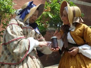 Ruth and Abby, the 1850s ladies, talk about jam