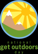 National get outdoors day for families logo with orange and yellow graphic sun and brown mountains capped in white set in a green valley.