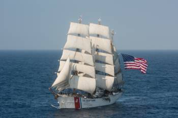 sailing vessel with American flag