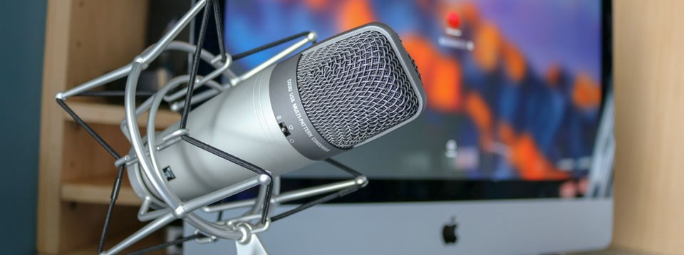 Podcast microphone on a desk