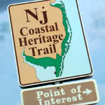 NJ Coastal Heritage Trail signage showing the way to points of interest