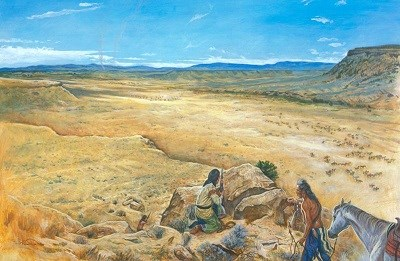 A painting that depicts two Nez Perce on top of a canyon looking down on the cavalry below.