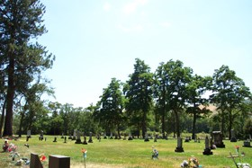 A cemetery surrounded by trees with several rows of headstones.